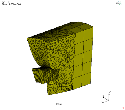 Figure 6.) 3D global remeshing of an contact problem.